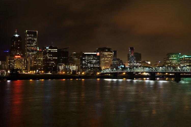 Bridge Colors Night Lights Oregon Portland River Water