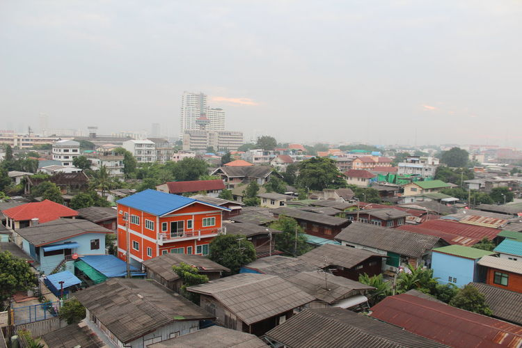 TakeoverContrast Urban Landscape Architecture Building Exterior Residential Structure Community Residential District Roof Sky Day Clouds And Sky Sunrises Bangkok Kingrama10 Smog Misty Morning