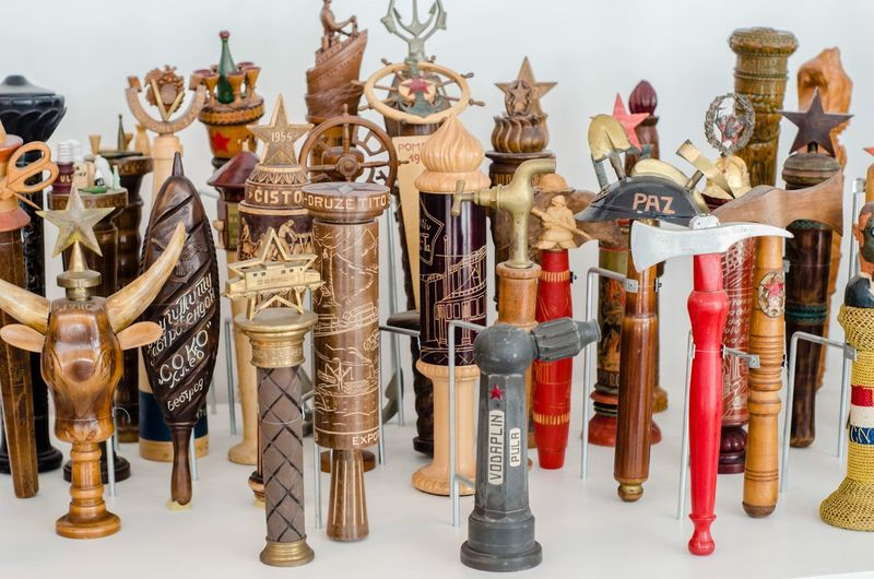 Comunism Tito Torches Large Group Of Objects No People Choice Variation Antique Art And Craft Indoors  Large Group Of Objects No People Choice Variation Antique Art And Craft Indoors  Abundance Collection Figurine  Close-up Creativity History Human Representation Craft Day Arrangement Male Likeness