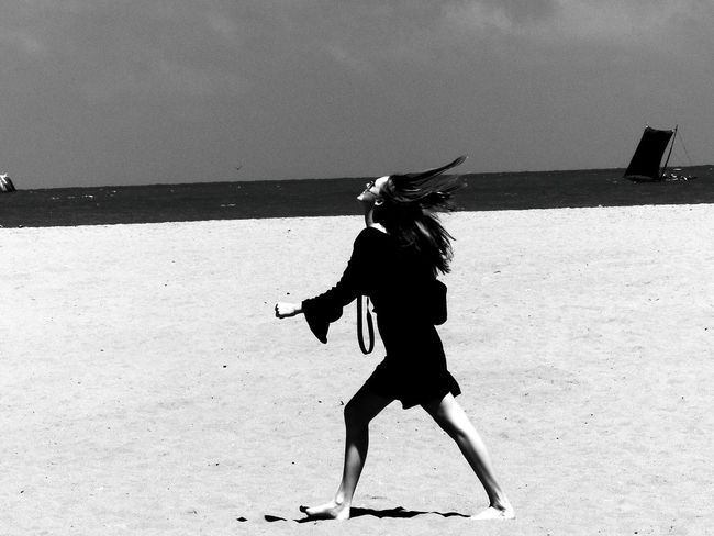 Girl Beach Happiness Happygirl Monochrome Blackandwhite Women Outdoors Motion Sand Confidence  Dress BlackDress Holidayspirit People Sunglasses Photography Camera Posing Ontopoftheworld Mood Moodygram Makemyday
