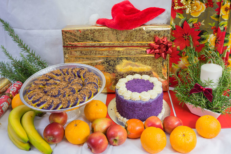 Close-Up Of Food On Table During Christmas