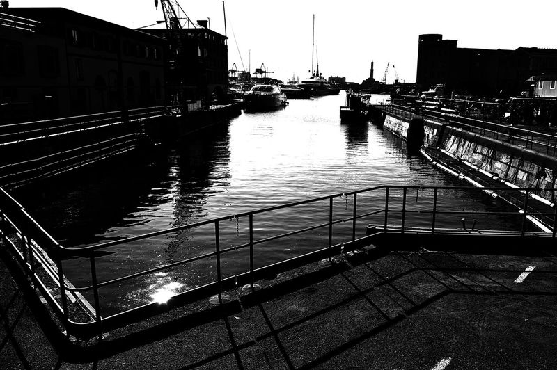 Architecture Black & White Blackandwhite Bridge - Man Made Structure Built Structure City Connection Day Dry Dock Dry Docks My Town No People Outdoors Railing Sea In The Evening Sea View Seascape Sky Transportation Water