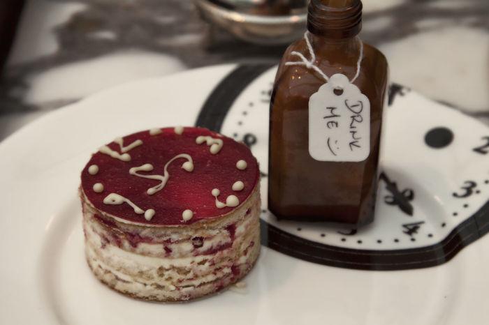 Tart Raspberry Treat Danish Dessert Drink Drink Me Alice In Wonderland Tea Time Clock Potion