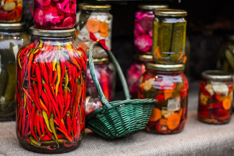 Market Red Red Hot Chili Peppers Basket Close-up Day Focus On Foreground Food Freshness Indoors  Jar Market Stall Marketplace Multi Colored No People Pepper Red Color Vegetable