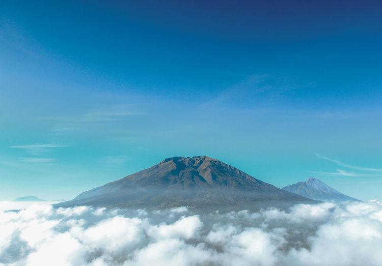 On Top Blue Sky Beauty INDONESIA Yogyakarta Adventure Merbabu Merbabu Mountain Snow Blue Volcanic Landscape Cultures Volcano Sky Cloud - Sky Landscape Volcanic Crater Active Volcano Lava East Java Province