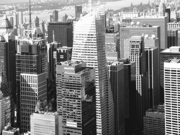 Architecture Black And White Blackandwhite Building Exterior Built Structure City City Cityscape Cityscape Day Downtown District Empire State Building Flying High Modern New York No People Outdoors Overview Skyscraper Travel Destinations Urban Landscape