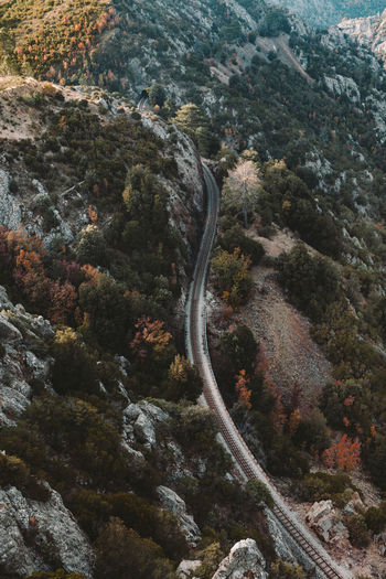 High Angle View Of Railroad Track On Mountain