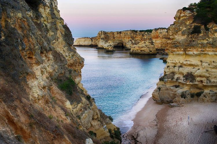 Scenic View Of Rock Formation At Praia Da Marinha