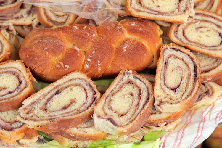 High angle view of poppy seed and walnut rolls