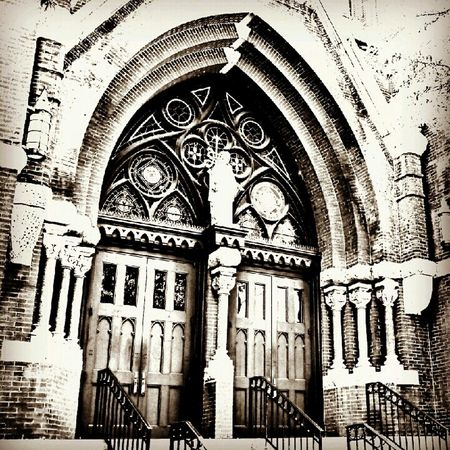 Doors to the Cathedral of Saint Paul, Birmingham, Alabama. Blackandwhite Cathedral Architecture