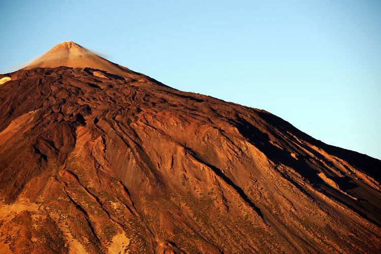Rocky Mountain At El Teide National Park Against Clear Blue Sky
