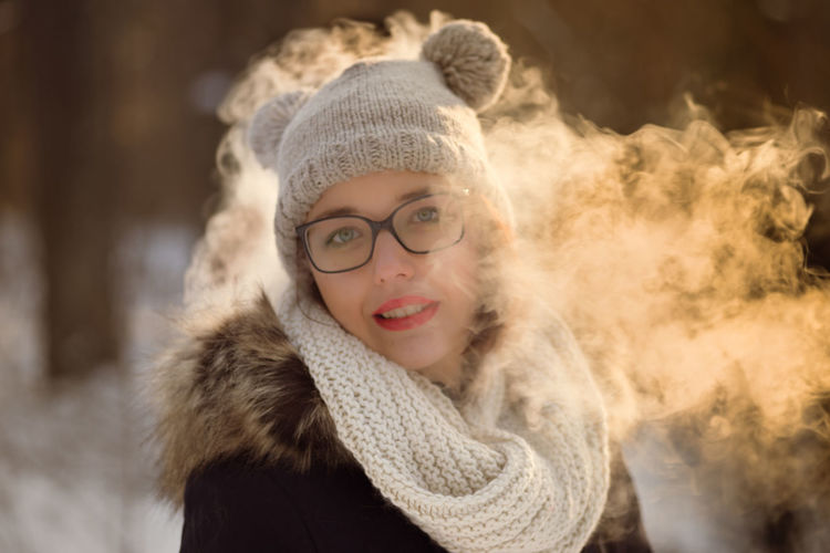 Adult Beautiful People Beautiful Woman Beauty Close-up Cold Temperature Fur Fur Coat Happiness Headshot Lifestyles Looking At Camera Night One Person Outdoors Portrait Real People Scarf Smiling Snow Warm Clothing Winter Women Young Adult Young Women