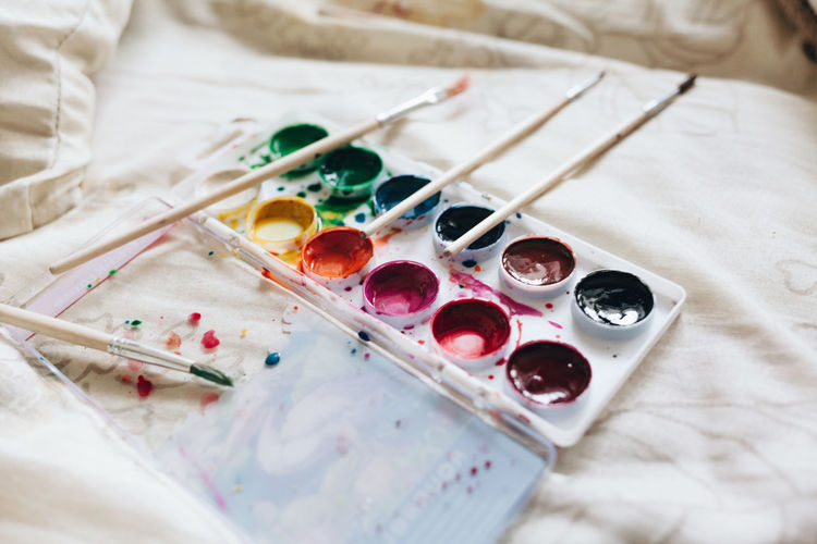 High angle view of paint palette and brushes