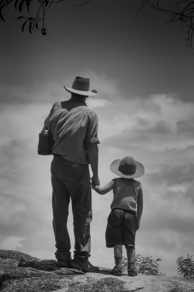 Some wisdom is best handed down personally. Father and son look out into the cloudscape after hiking to a remote ridge top in Far North Queensland. Australia Love Life, Love Photography Blackandwhite Photography Father Father & Son Fatherhood  Photography EyeEmNewHere Man Son Hat Cowboy Hiking Family Queensland Australia Fnq Far North Qld Clouds And Sky Two People Alone In Nature Simple Holding Hands Love Family Time Walking Around Walkabout Hikingadventures Bushwalking Connected By Travel