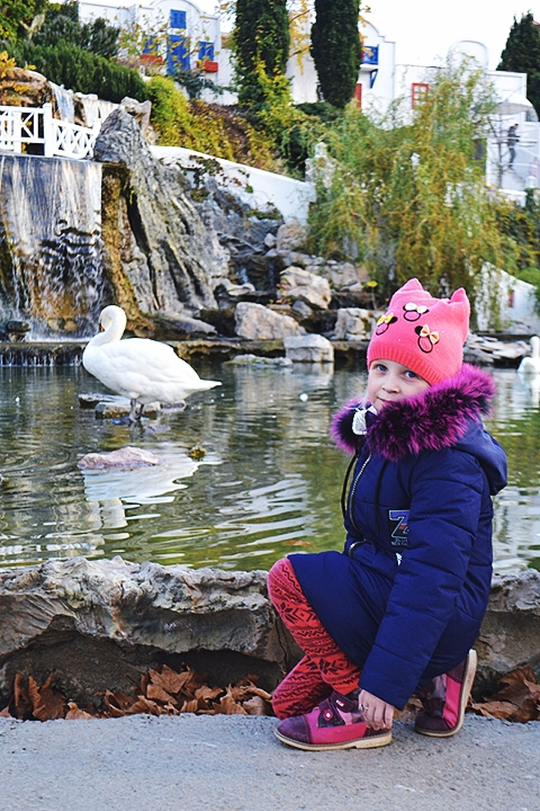 full length, water, real people, one person, child, lifestyles, bird, vertebrate, leisure activity, day, childhood, animal, winter, nature, side view, looking, animal wildlife, warm clothing, outdoors, innocence
