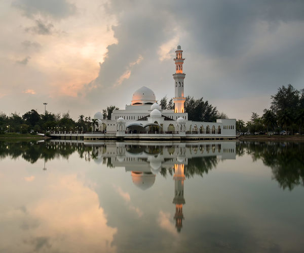 Floating Mosque Malaysia Truly Asia Lake View Masjid Terengganu Politics And Government Tree Water City Dome Sunset Lake Place Of Worship Reflection Business Finance And Industry