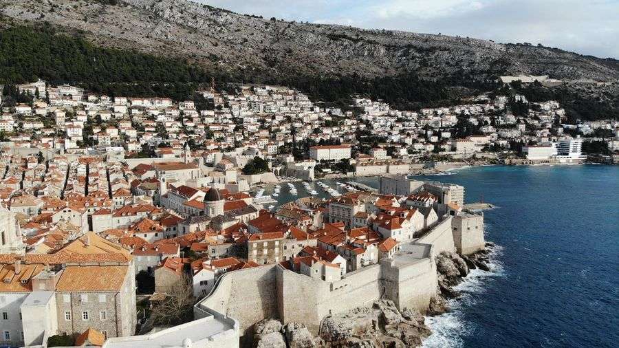 Croatia Dubrovnik Rooftop House Old Town Drone View Europe Built Structure Building Exterior Architecture Heritage Adriatic Sea Tower Town Crowded Travel Travel Destinations Travel Photography Seascape Ocean Beautiful Place Medieval Mediterranean  High Angle View TOWNSCAPE
