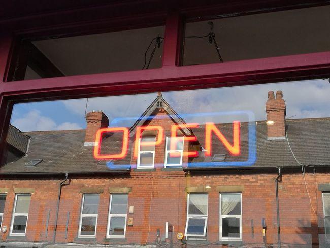 Open Neon Neon Sign Restaurant Reflection Glass Reflection Glass Window Glass Windows With Reflections