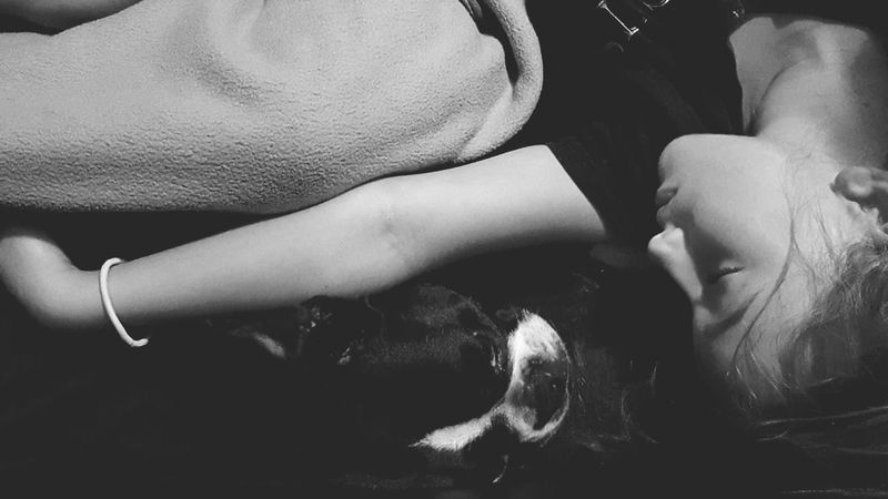 EyeEm Selects Real People Lifestyles Indoors  Friendship People Leisure Activity Four Legs And A Tail Dogslife Dog Love Domestic Life Four Legged Friend Dog One Person Indoors  Black & White Littlethings Love Of A Dog Dogphoto Sleeping Sleep Snuggling Child Girl Girl And Her Dog