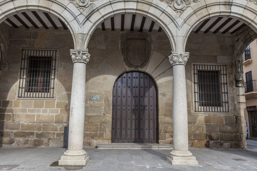 Plasencia City Hall building also called Consistorial House, Caceres, Extremadura, Spain Arch Architectural Column Architecture Building Exterior Built Structure Day Entrance No People Outdoors