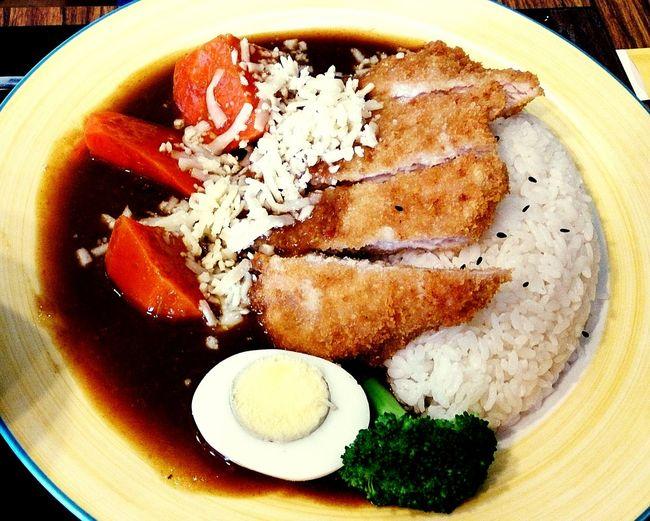 起司咖哩豬排飯 (cheese curry pork chop ). Lunch Time! Japanese Food Curry Pork Chops Cheese! Taking Photos Eating Happiness The Foodie - 2015 EyeEm Awards