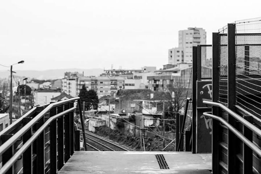 City Built Structure Railing Day No People Bridge - Man Made Structure High Contrast Portugal Black And White Blackandwhite Outdoors Sky Streetphotography City Cold Weather Black & White High Contrast Bnw Blackandwhite Photography Winter