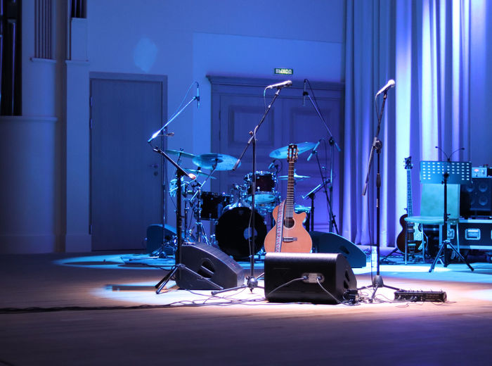Musical instruments on stage