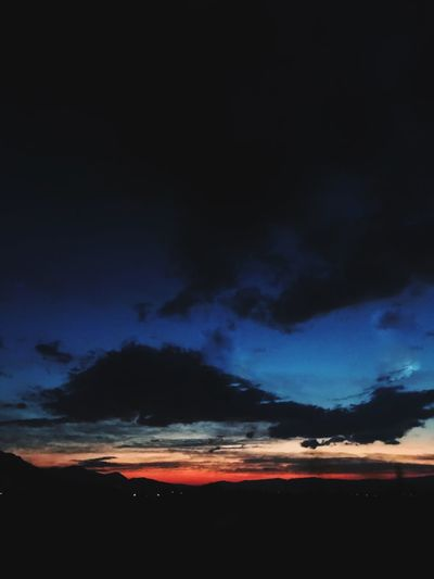 Night Scenics Tranquil Scene Sky Cloud - Sky Beauty In Nature Tranquility Nature Silhouette Outdoors Dramatic Sky Sunset Night No People Blue Landscape