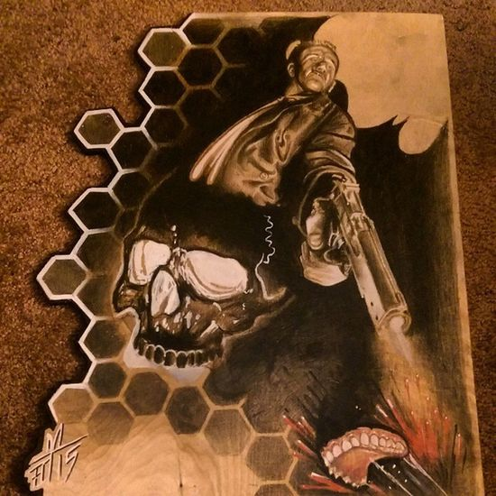 """Drawing on wood """"man bites dog"""" Drawing Freehand Check This Out Torstenmatthes Mrttattoo Fullcustomtattoo Tattooartist  Wood Killer Skull"""