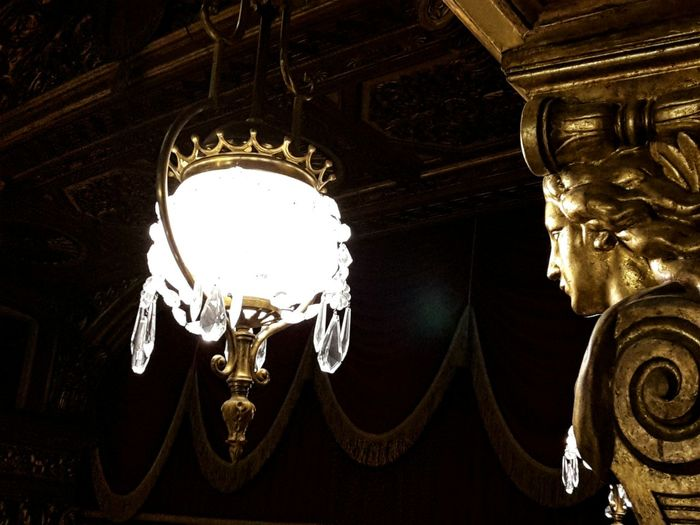 Theater Teatro Carignano 17th Century Turin Italy Details Gallery Hanging Low Angle View Illuminated Old Lamp Gold Colored Indoors  The Architect - 2017 EyeEm Awards