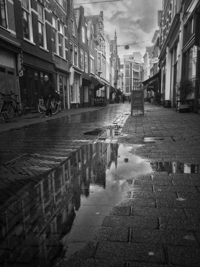Blackandwhite Photography Streetphoto_bw Street Photography Urban Landscape Perspective Blackandwhite Rainy Day Rainy in Haarlem Netherlands