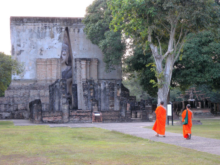 Sukhothai Historical Park Ancient Ancient Civilization History Monks In Temple Monks Walk Real People Religion