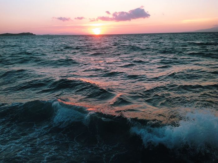 Waves Crashing Sea Greece Landscape_photography