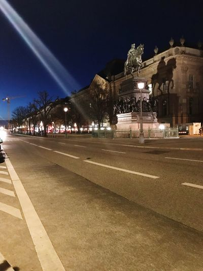 Statue Architecture Illuminated Built Structure Night Building Exterior Street Light Road Street Outdoors No People Sky City