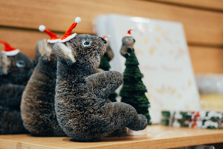 Close-Up Of Koala Toys On Table During Christmas