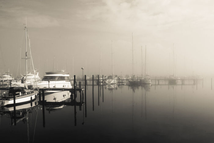 Black And White Fog Harbour Marina Mirroring Q By Audi Quiet Refelction  Ship Tranquility Transportation Fresh On Eyeem