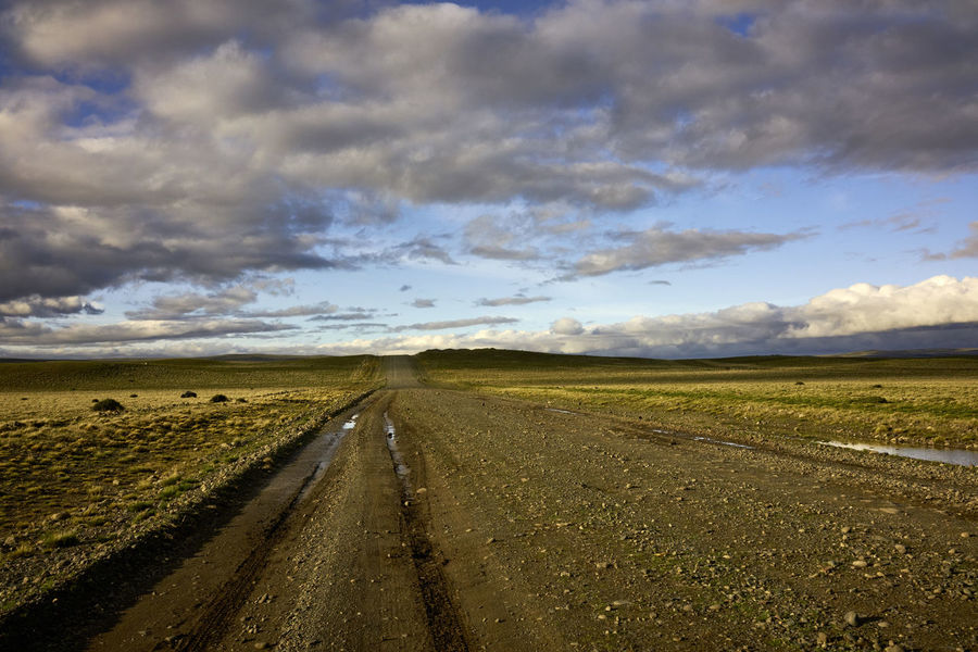 Dirt Road in Argentinian Patagonia Cloudscape Day Lily Road Argentina Beauty In Nature Diminishing Perspective Dirt Road Famous Place Horizon Horizon Line Landscape No People Non Urban Scene Patagonia Picturesque Rural Scene Scenics South America Travel Destinations vanishing point
