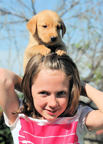 Close-up of smiling girl playing with puppy at park during sunny day