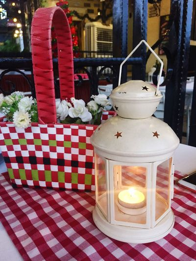 Candle Table Flower Flame No People Tablecloth Indoors  Spirituality Illuminated Lantern Red Christmas Christmas Decoration Day Close-up Nature Fragility Freshness EyeEmNewHere