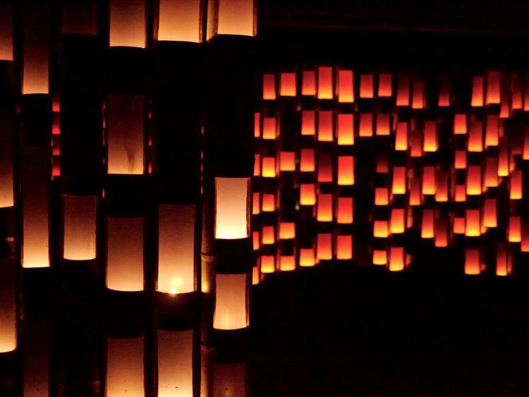 Summer Night bamboo lights / Mifuneyama rakuen, Saga Prefecture Kyushu region In Japan. GX1+L-X025 50mm F/1.4 Handheld Exposure Photos(iMac) edit de Good Night Bamboo Art Candlelight Illuminated Light And Shadow Lowlight Photography Night Lights Night Photography Red Light Walking Around 佐賀県 武雄市 御船山楽園 Japan Scenery