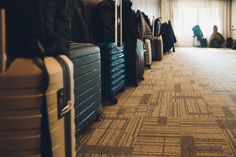 View of suitcases on floor at home