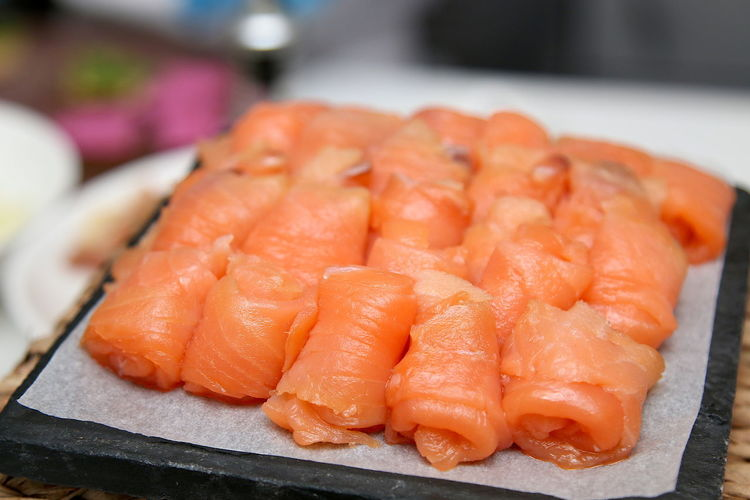 Close-up of seafood on tray