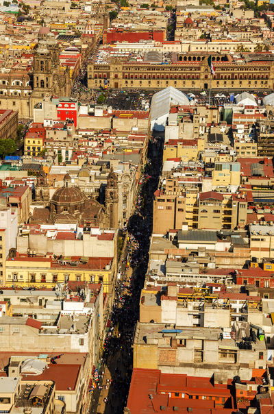 Aerial view of the cathedral of Mexico City and the main plaza, or Zocalo Architecture Architecture Building Cathedral City City Df Downtown Federal Latin Main Metropolitan Mexican Mexico Nacional Outdoors Palacio Plaza Square Street Tourism Travel Vacation Zocalodf Zócalo