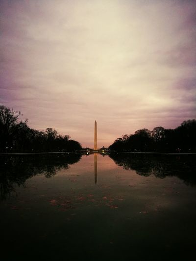 Reflection Politics And Government Travel Destinations City Tourism Travel No People Water Sky Sunset Outdoors Cultures Obelisk USA Photos USAtrip Washington, D. C. District Of Columbia Sky And Clouds Tree Nature City Clouds And Sky Great Performance