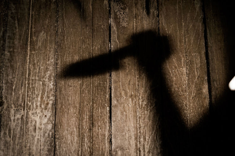 Shadow of old wooden plank