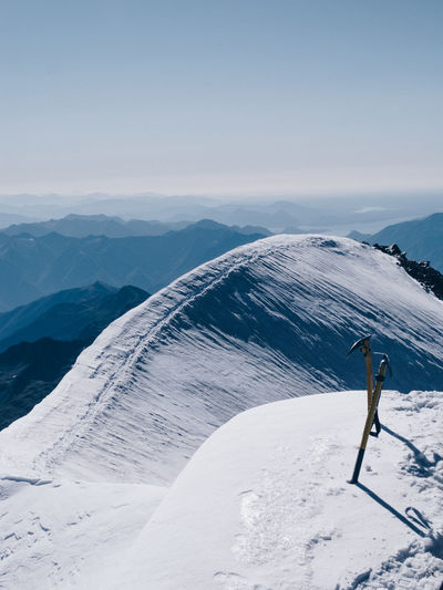 Adventure Alpine Alps Altitude Challenge Climbing Cold Cold Temperature Extreme Sports Freezing Frozen High Ice Ice Axe Mountain Mountain Climbing Mountaineering Outdoors Rock Sky Snow Summit Tracks View Wind