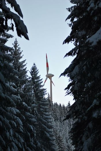 Snow Covered Trees With Wind Turbine Against Clear Sky