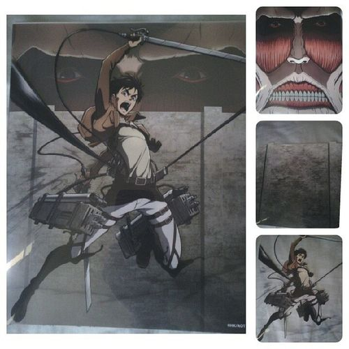 Got this @animeexpo2013 Attack on Titan ★see through sheets. Pretty cool. I put this 3 sheets together and it makes one piece of art. Attackontitan Anime Animeexpo2013 Ax conventioncenter japanese cool art titan manga