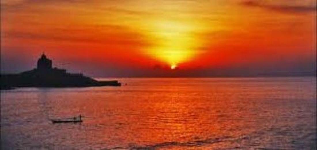 It is sunset at Kanyakumari , India sothern tip of India. Sunset