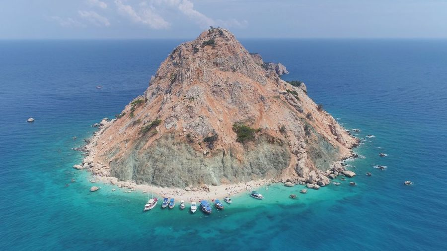 Adrasan Flycam Island Water Sea Beauty In Nature Beach Scenics - Nature Nature Land Tranquility Blue Idyllic Sky Holiday Real People High Angle View Outdoors Horizon Over Water Vacations Day Tranquil Scene